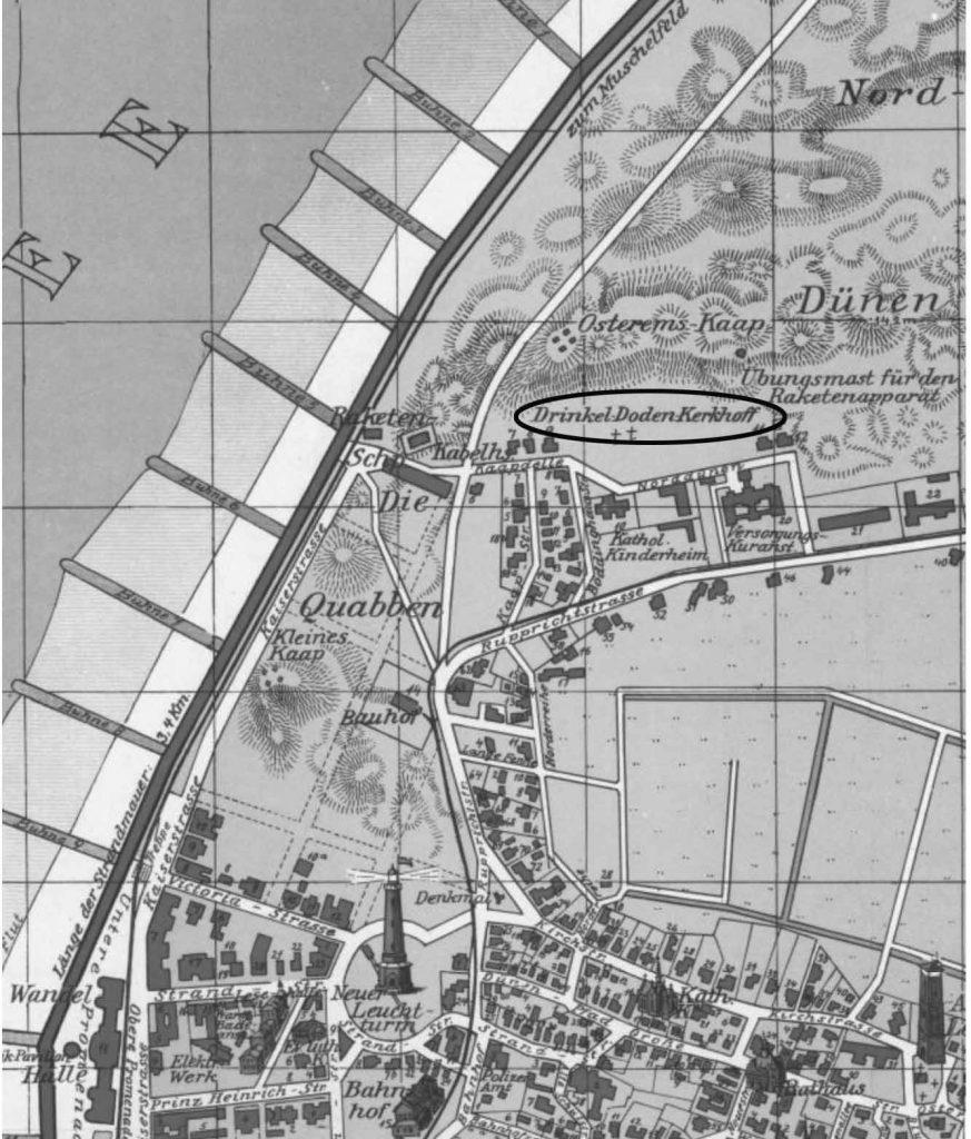 Lage des Drinkleldodenkarkhoff auf einer Karte von 1914